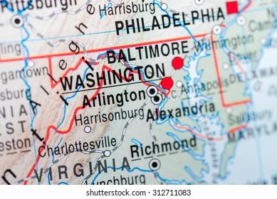 Map view of Washington DC