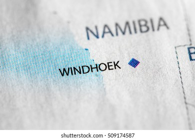 Map view of Windhoek, Namibia on a geographical map of Africa.