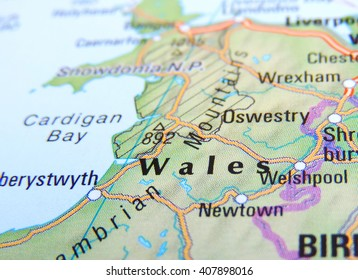 Map of Wales with selective focus