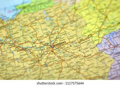 Map of Warsaw (Warszawa), Poland
