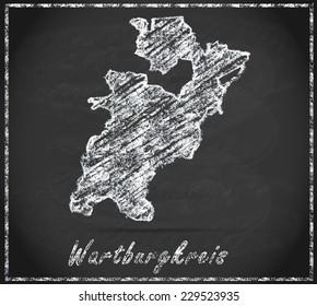 Map of Wartburgkreis as chalkboard  in Black and White