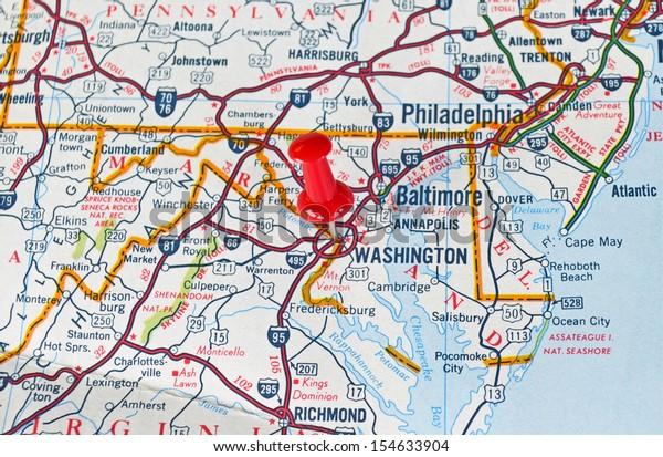 Map Washington Dc Red Push Pin Stockfoto (Jetzt bearbeiten ...