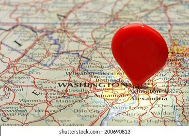 Map of Washington DC/Red map pointer stuck into of Washington DC