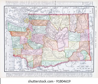 A map of Washington State, USA from Spofford's Atlas of the World, printed in the United States in 1900, created by Rand McNally & Co.