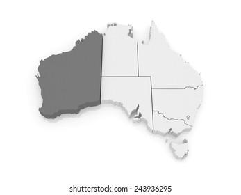 Map of Western Australia. Australia. 3d