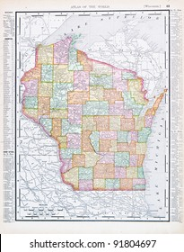A map of Wisconsin, USA from Spofford's Atlas of the World, printed in the United States in 1900, created by Rand McNally & Co.