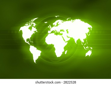 Map of the world in front of an abstract green background.