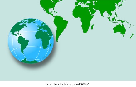 Map of the world with globe
