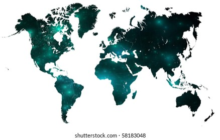 map of the world with lights and connecting lines for telecommunication or world issues. over white.