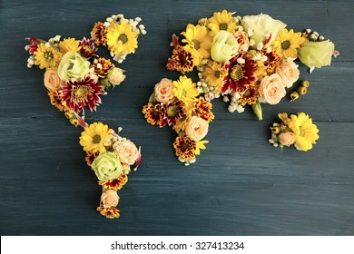 Map of world made from different kinds of flowers, close-up