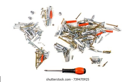map of the world made of screws, fasteners and other mechanical tools with screwdriver on white background, worldwide construction industry concept