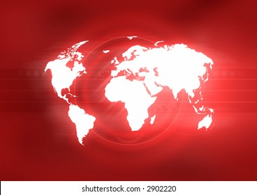 Map of the world on abstract red background.
