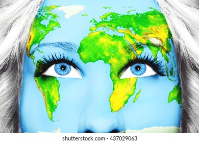 Map World On Face Girl Green Stock Photo Edit Now 341640773