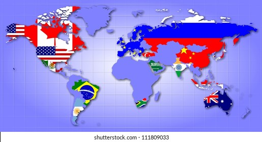 A map of world showing G20 member countries as their flags / G20 map