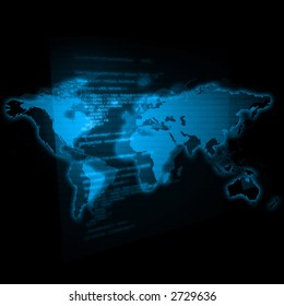 map of the world / transparent chart with programming code