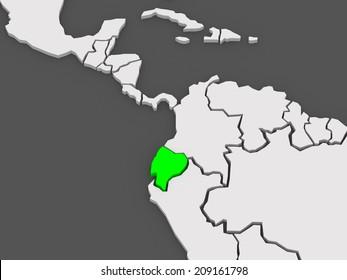 Map of worlds. Ecuador. 3d