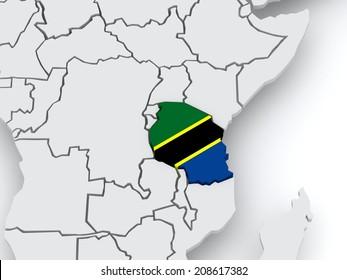 Map of worlds. Tanzania. 3d