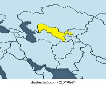 Map of worlds. Uzbekistan. 3d