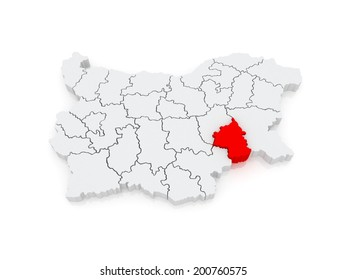 Map of Yambol region. Bulgaria. 3d