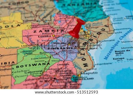 Map Zimbabwe Red Pushpin Stuck Stock Photo (Edit Now) 513512593 ...