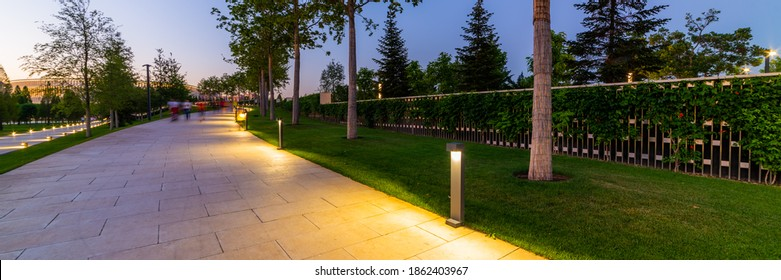 L'Érable dans le jardin français dans le parc public de Krasnodar ou Galitsky park. Bancs ronds en bois autour des érables