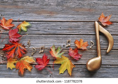 Maple  autumn leaves with music note on wooden background