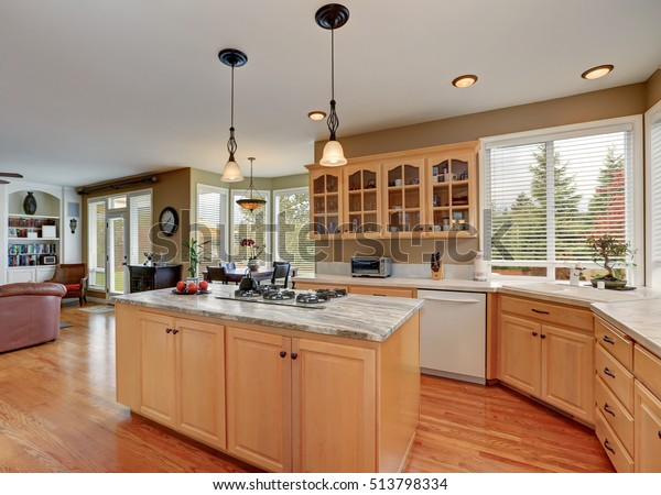Maple Cabinets Large Kitchen Island Kitchen Stock Photo ...