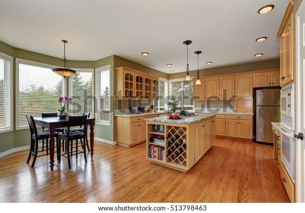 Maple Cabinets Large Kitchen Island Book Stock Photo Edit