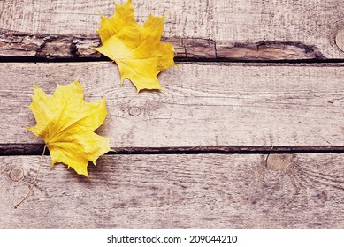 maple leaf on wooden surface