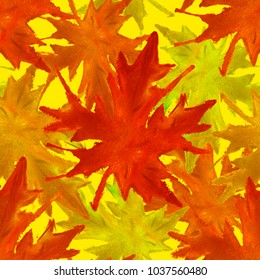 Maple Leaves. Seamless Watercolor Pattern. Bright Unusual Texture for Textile, Fabric, Dress, Cloth. Fantastic Wallpaper. Seamless Autumn Pattern for Batik