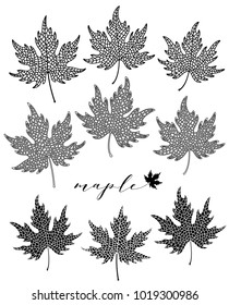 Maple leaves set in black and white colors.