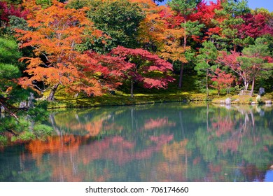 Maple reflected in the lake(Sogenchi pond) of Tenryuji temple ,zen garden in scenic Saga Arashiyama area of Kyoto ,JAPAN. Autumn background.