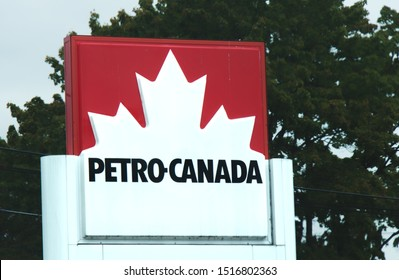 Maple Ridge, Canada - September 26, 2019: Sign of Petro-Canada gas station in Maple Ridge. The most popular fuel station in Canada.