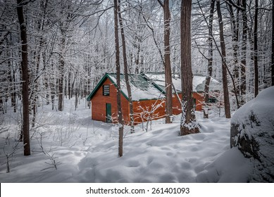 Maple syrup sugar shack in a fresh fallen snow covered woods.