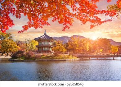 Maple trees with a lake at gyeongbokgung palace, Seoul, South Korea.