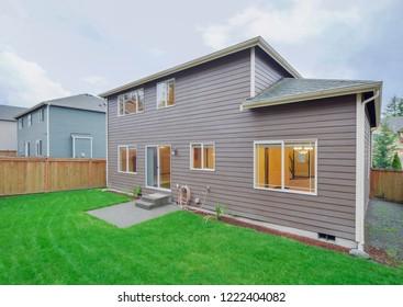 Maple Valley, WA / USA - Nov. 1, 2018: Residential backyard exterior
