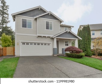 Maple Valley, WA / USA - Oct. 9, 2018: Residential front exterior