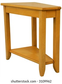 Maple Wood Wedge Shaped End Table in Natural Finish