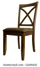 Maple X Back Dining Room Chair with Leather Seat