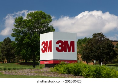 MAPLEWOOD, MN/USA - JUNE 20, 2014: 3M corporate headquarters building. 3M is a worldwide manufacturer of industrial and consumer products and employes 88,000 people worldwide.