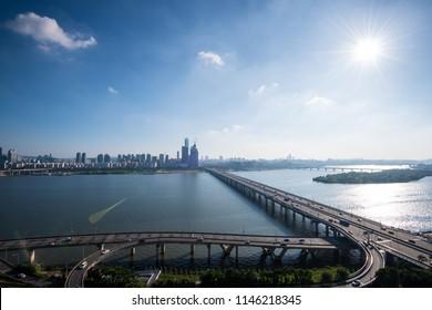 Mapo bridge and Hangang river in Seoul.