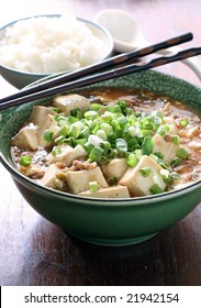mapo tofu, braised bean curd with spicy Chinese meat sauce