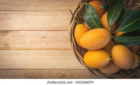 maprang fruit , marian plum, or plum mango,Name: Bouea macrophylla Griff,Oval fruit, ripe fruit from yellow to orange. Juicy pulp, sour or sweet juice
