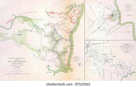 Maps of the battlefield and siege of Yorktown  in 1862 from Atlas to Accompany the Official Records of the Union & Confederate Armies, 1861 - 1865