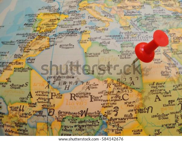 Maps English Thailandcloseup Libya Map Red Stock Photo (Edit
