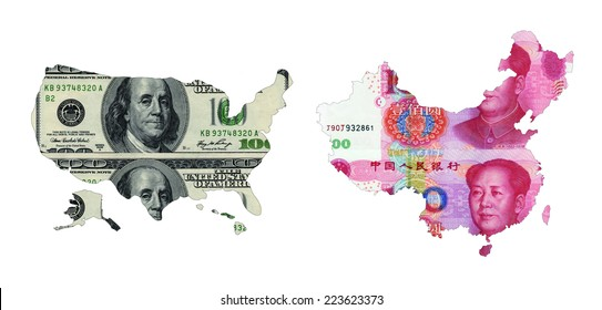 maps of USA and China shaped by paper currency