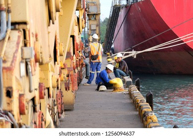 Maptaphut, Rayong Region, Thailand - November 30th, 2018: stevedore   Maptaphut Port, Rayong, Thailand