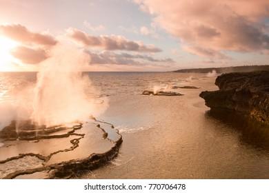 Mapu'a 'a Vaea Blowholes on sunset, Tongatapu Island, Kingdom of Tonga