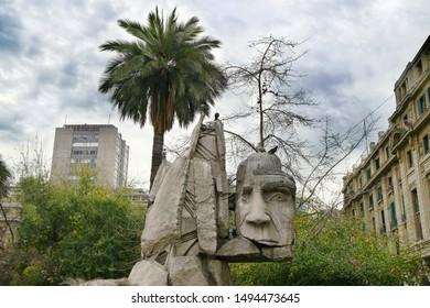 Mapuche statue at the Plaza de Armas - Santiago de Chile