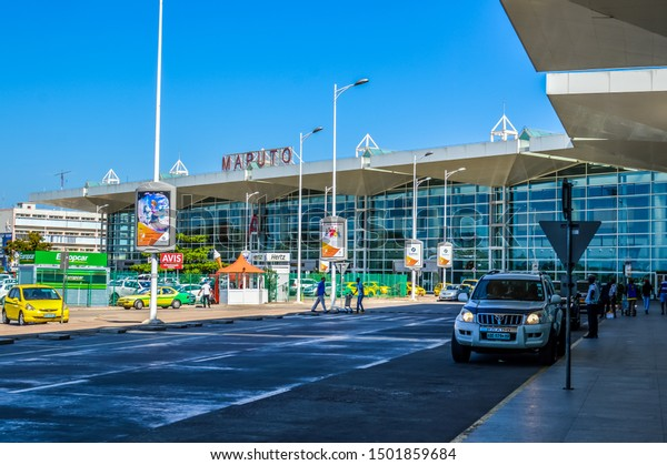 Maputo , Mozambique - Mar 28 2018 : Beautiful exteriors of Maputo international airport showing waiting taxis